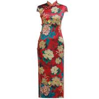 qipao largo al por mayor-Moda Chino tradicional Collar Mandarín Cheongsam Botón hecho a mano Novedad Vestido Largo QiPao Manga corta Vestido delgado M-4XL