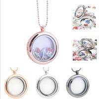Wholesale transparent charm locket resale online - 30mm floating locket DIY Jewelry transparent glass frames floating charm lockets pendants K5446