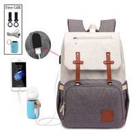 Wholesale new fashion strollers resale online - New Fashion With USB Mummy Daddy Diaper Bag Pure Large Waterproof Nursing Bag Travel Backpack Stroller Baby Care Nappy Bag