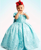 Wholesale girls 3t wedding dress online - Mint Princess Flower Girls Dresses Tutu Backless Big Bow Toddler Little Girls Pageant Communion Dress Kids Formal