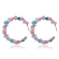 ingrosso orecchino in corallo-Orecchini in ghiaia perla Orecchini in pietra corallo rosso per le donne Orecchini pendenti con perle geometriche bohemien