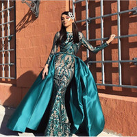 Muslim Green Sequins Mermaid Evening Dresses Detachable Skirt Turkish  Arabic Aibye African Formal Prom Dress Moroccan Kaftans Couture Gowns 943af071c193