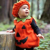 kürbis hut kleinkind großhandel-Kürbis Kleidung Set Infant Kleinkind 2 STÜCKE Ärmellose Weste Top und Hut Kinder Jungen Mädchen Kleidung Nette Halloween Party Baby Kostüm