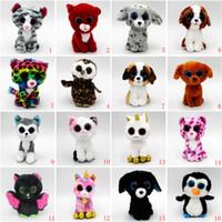 anime brinquedos macios venda por atacado-20 estilos Ty Beanie Boos Unicorn brinquedos de pelúcia de pelúcia 15 cm (6 polegada) olhos grandes animais bonecos macios para presentes de aniversário do bebê brinquedos B