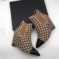 Wholesale gold chain boots for sale - Group buy Womens classic chain heel ankle boots Plaid shoes with pointed wedge heels and high heels boots heel height cm