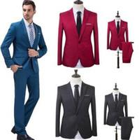 iş için resmi blazerler toptan satış-Erkekler Düğün Suit Erkek Blazers Slim Fit Erkekler Kostüm İş Takım Elbise Resmi Parti Resmi Iş Elbisesi Suits (ceket + Pantolon)