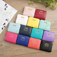 Fashionable Style Colorful Women Lady Mini Faux Leather Bowknot Coin Purse Zip Around Wallet Card Holders Women' Female Clutch Bags H0054
