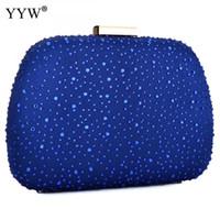 rebites de sacos azuis venda por atacado-Strass Rebite Saco de Noite Mulheres Moda Azul Com Zíper Crossbody Bag Embreagens Cadeia Feminina Bolsa de Ombro Apuramento Da Embreagem Y190627