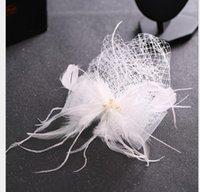 beyaz tüy aksesuarları toptan satış-Gelin peçe Kore el yapımı beyaz tüy peçe Gelin elbise aksesuarları