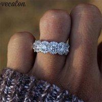 joyeria vecalon al por mayor-Vecalon Elegante anillo de plata de ley 925 Compromiso anillos de la banda de boda Para las mujeres Nupcial Partido Fino Dedo Regalo de La Joyería