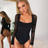 Wholesale see through lingerie for women for sale - Group buy Sexy mousse bodysuit for woman corset waist trainer see through lingerie underwear mesh long sleeved patchwork square neck