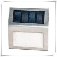 panel paslanmaz çelik toptan satış-Güneş Işık Paslanmaz Çelik Konut 2 LED Adım Işık Adım Bahçe Yard Güverte Işık Monokristal Silikon Güneş Paneli