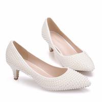 ingrosso scarpe da sposa formato 43-Crystal Queen beige Perle da sposa Scarpe da sposa Moda donna Scarpe eleganti Tacchi da sera Scarpe da festa Tacchi alti 5cm Pompe taglia 43