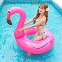 Wholesale ring buoys inflatable resale online - 120cm Inflatable Flamingo Unicorn Peacock floats swimming ring Thickening PVC life buoy Flamingo Floating Bed Raft Air Mattress Summer Water