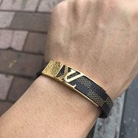 Wholesale bracelet flowers for sale - Group buy New Style Titanium steel genuine leather bracelets with gold V L shape design for women flower print pulsera charm bracelet Top Quality
