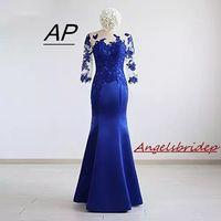 Angelsbridep Half Sleeves Vestidos De Fiesta Largos Elegantes De Gala 2019 Charming Appliques Mermaid Evening Dress Custom Made