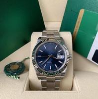 relógio digital preto dos homens venda por atacado-Caixa de data dos homens do Esporte de Alta Qualidade Azul Dial Datejust 41mm Movimento Mecânico Automático Mostrador Preto Relógios