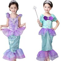 Wholesale halloween clothing for babies resale online - Girls Little Mermaid Princess Dress Cosplay Costumes For Kids Baby Girl Mermaid Dress Up Children Halloween Clothing Mermaid dress LJJK2027