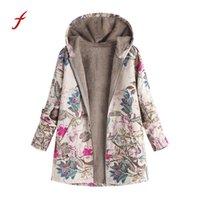 chauffe-poche vintage achat en gros de-manteau à capuchon coton veste d'hiver femmes manteau Outwear chaud Outwear imprimé floral poches à capuchon Vintage manteaux surdimensionnés