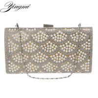 Wholesale side clutch chain bags for sale - Group buy YINGMI One Side Rhinestones Women Evening Bags Pearl Imitation Chain Shoulder Messenger Birthday Gift Cluthes
