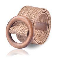 ingrosso fibbia in cintura in legno-Intrecciato Cintura con fibbia in legno signore solido casuale di modo di lusso 2019 del vestito di estate di alta qualità tessuta paglia delle donne di legno Belt