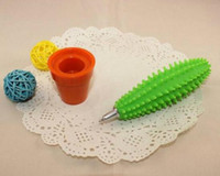 Wholesale Freeshipping cute beauty Spike Pen green Cactus Pen Funny Cactus Ballpoint Pen with Plant Pot