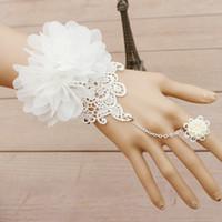 Wholesale lace wedding cuff resale online - Vintage Bridal Wedding Bracelet Ring Integrated Chain White Lace Gorgeous Hand made Flower Women Bracelets Bangles Adjustable Size