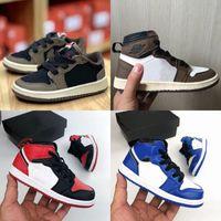 sapatos de corrida para crianças venda por atacado-New Kids sapatos marrons Baixa Travis Scott tênis de basquete 1 Cactus alta OG Jack 1S Sapatilhas Sports instrutor da criança do bebê Running Shoes Preto