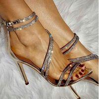 zapatos de vestir estrechos de las señoras al por mayor-Bombas para mujeres 2019 Moda Peep Toe Cristal estrecho Rhinestone Tacones altos Sandalias Sexy Ladies Cross Tied Bombas de fiesta Zapatos de vestir