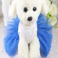 xxl robes de chien achat en gros de-Robes de chien Robes de mariée dentelle Princesse Tutu Robes de chat Teddy Bulldog Schnauzer Vêtements 3 Couleur XS-XXL