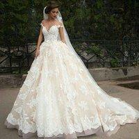 Wholesale wedding dresses turkey resale online - Vintage Turkey Lace Ball Gown Wedding Dress Off Shoulder Princess Illusion Jewel Neck Bridal Dress Gown Weddingdress