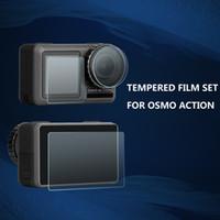 ingrosso pellicola protettiva per lenti-DJI OSMO Sports Camera HD Pellicola protettiva OSMO ACTION Accessori per pellicole in vetro temperato Lente + Schermo anteriore + Schermo posteriore