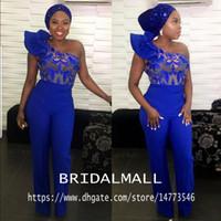 trajes de vestidos africanos al por mayor-Mono azul real de un hombro Vestidos de baile Apliques de encaje Traje hasta el tobillo Vestido para ocasiones especiales Satén Vestidos de noche formales africanos