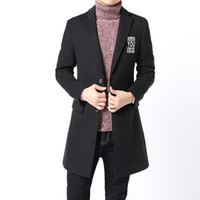 Spring Winter Mens Trench Coat Cashmere Overcoat Slim Fit Casual Fashion Leisure Jackets Male High-grade Woolen Blends Outerwear
