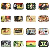 rohe hand großhandel-RAW Tobacco Rolling Tray Metall Tray Hand Roller Tobacco Grinder Rauchen Zubehör Zigaretten Werkzeuge Herb Roller Trays Lagerung