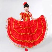 rote kleider tänzer großhandel-Kinder Flamenco Roter Langer Rock Spanisch Senorita Flamenco Tänzerin Kostüm Spanisch Flamengo Tanzkleider Für Mädchen DN3040