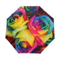 ingrosso rose piegate-Arcobaleno Tinted Roses Fiore automatico Tre pieghevole Donne Umbrella Romantic forte vento creativo Retro Umbrella pattern