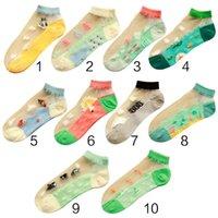 calcetines de color caramelo al por mayor-10 colores Ocean Series Women Girls Short Cut Short Boat Calcetines Contraste Candy Coloured Cartoon Jacquard Sheer Fiber Fiber Glass