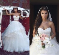Wholesale plus size gray belt online - Gorgeous White Lace Sweetheart Wedding Dresses Tiered Tulle Layers Beach Bridal Gowns With Brown Belt Backless Floor Length Wedding Gowns