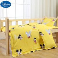 kinderbett cartoon großhandel-2019 neue Gelb 100% Baumwolle Bettwäsche Set Babybett Kinder Kinder Mat Cover Bettbezug Kissenbezug für Kinder