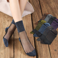 bayanlar ipek çoraplar toptan satış-Bayanlar sonbahar cam kristal ipek kadın çorap tüp ince pamuklu alt çorap Japon yetişkin altın ve gümüş çorap çorap