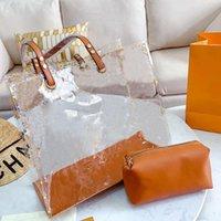 Wholesale clear beach bags purse resale online - Top Tote Bag Big Handbags Designer Luxury Handbags Purses Fashion Clear Old Flower Transparent Women Shopping Beach Bags PVC Composite