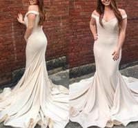 Wholesale wedding guest dress for sale - Champagne Simple Mermaid Bridesmaid Dresses Off Shoulder Sweep Train Garden Country Wedding Guest Gowns robes de demoiselle d honneur