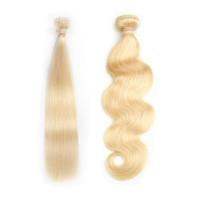 comprar 22 pulgadas de pelo brasileño al por mayor-Tejido brasileño de cabello humano 613 Miel Rubia Paquetes de cabello lacio 1 UNID Remy Paquetes de cabello 12-30 pulgadas Onda del cuerpo puede comprar 3-4 Paquetes