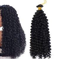 kinky wasserwelle großhandel-Marlybob Synthetic Crochet Braiding Haar Marlibob Water Wave Twist Crochet Haarzöpfe Afro Dreadlocks Verworrene Locken Haarbündel für Black Wom