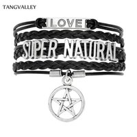 übernatürlichen charme armband großhandel-TANG VALLEY Customized Supernatural Sam Winchester Lederarmband personalisierte Mode Pentagram Auto Charm Armband