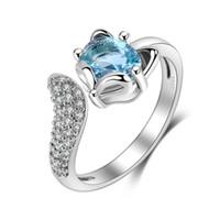 nachahmungsringe für mädchen großhandel-Fox Eröffnung Ringe Design Für Mädchen Partei Schmuck Sexy Frauen Bijoux Resizable Imitation 925 Sterling Silber Ring Mit Zirkon Ring