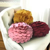 Wholesale kids neck cushion resale online - DUNXDECO Pillow Rose Flora Petal Cushion Romantic Round Stuffed Throw Girl Kid Room Love Present Decoration Coussin