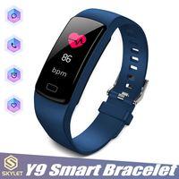 ingrosso attività della scatola-Orologio da polso intelligente con cinturino in pelle a forma di orologio da polso con cinturino intelligente Y9 Orologio da polso smart per orologio Fitbit Xiaomi con cinturino