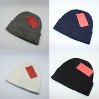 Wholesale white woolen hats for sale - Group buy Winter Brand Beanies For Lovers Keep Warm Knitted Hat Gray Black White Woolen Hats Skiing Fashion Simple ds D1